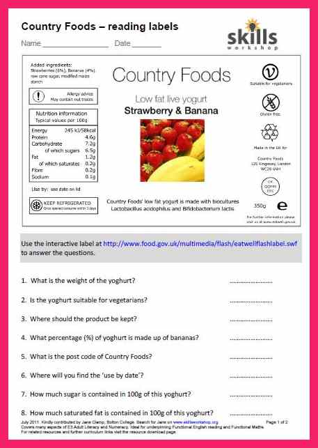 Food label worksheet for adults