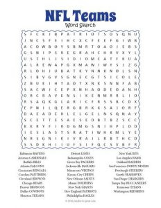 Football Teams Word Search Answers