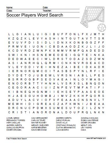 34 End To End Football Word Search Puzzles For You Kitty