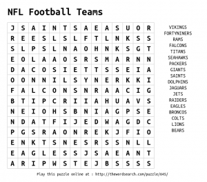 Football Word Search Puzzle NFL Teams