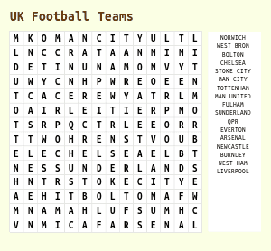 Football Word Search Teams