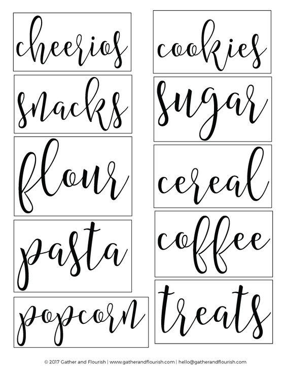 Invaluable image pertaining to free printable pantry labels