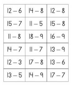 Free Subtraction Flash Cards
