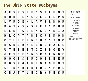 Ohio State Football Word Search