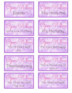 Open This When Letters Printable