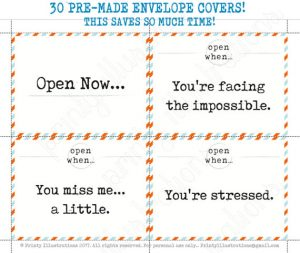 Open When Letters Template Printable