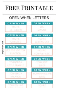 Open When Letters for Best Friend Printable