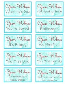 Open When Letters for Mom Printable