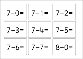 Simple Subtraction Flash Cards
