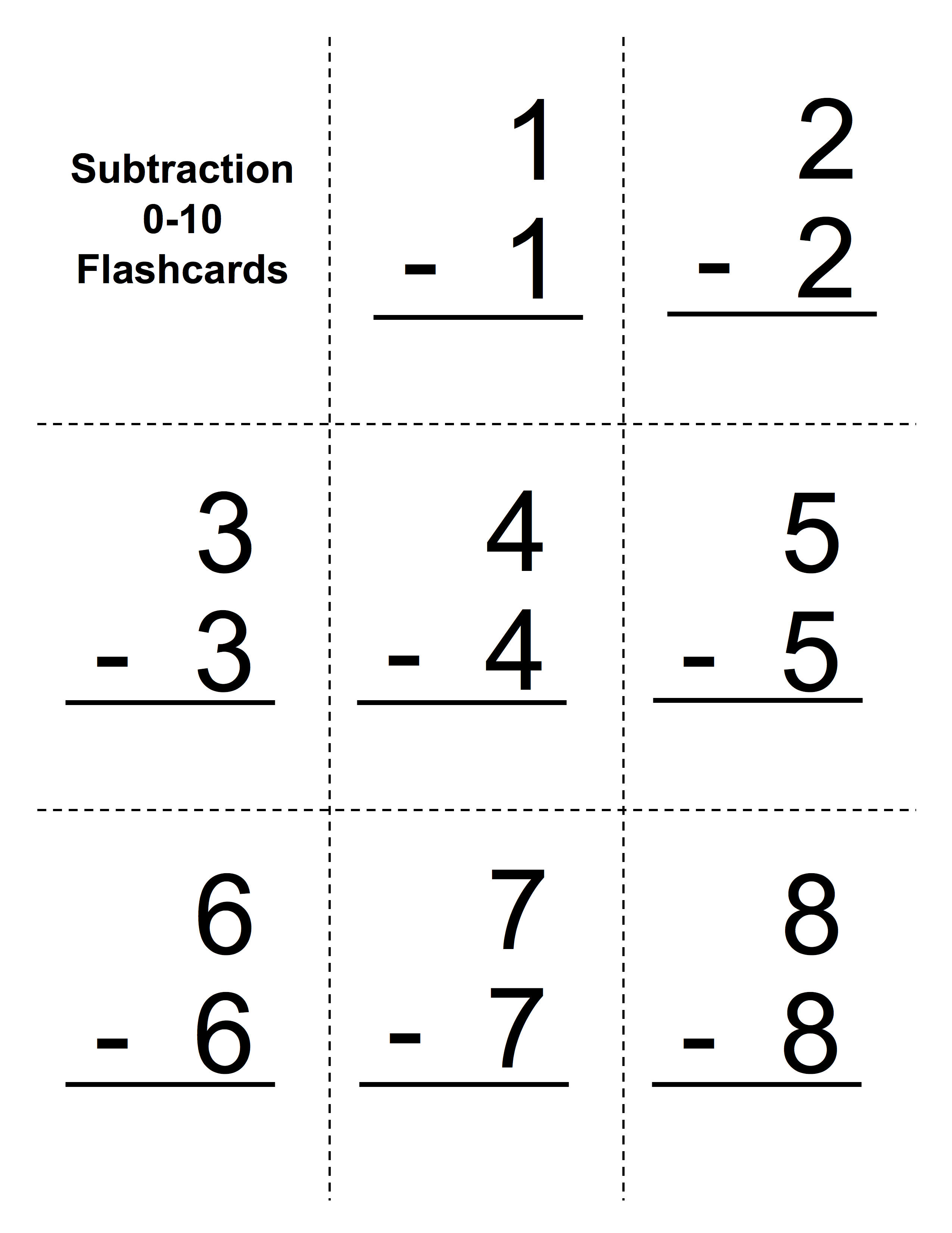 Challenger image for printable subtraction flash cards