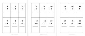 Small Subtraction Flash Cards