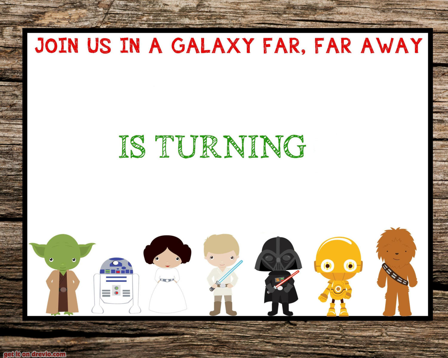 Star Wars 7th Birthday Invitation