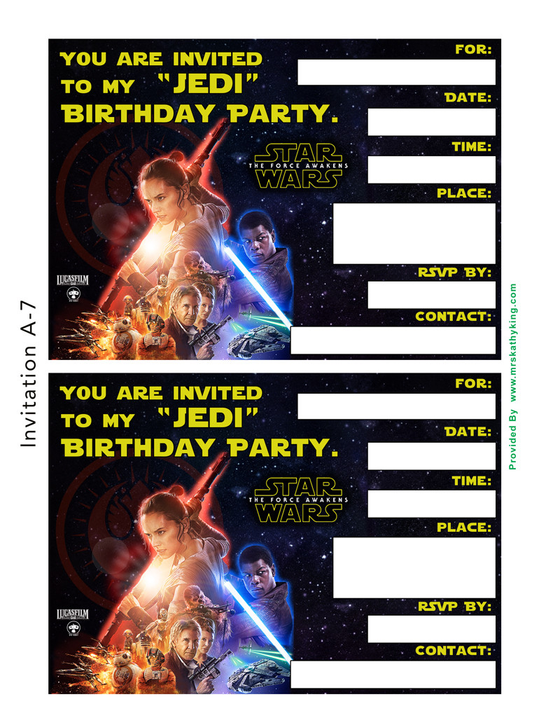Revered image within star wars invitations printable