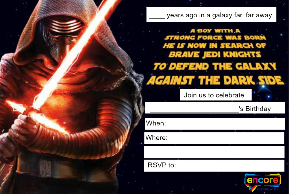 Star Wars Darth Vader Birthday Invitations