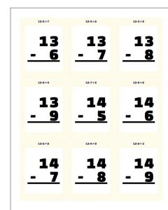 Subtraction Flashcards with Answers