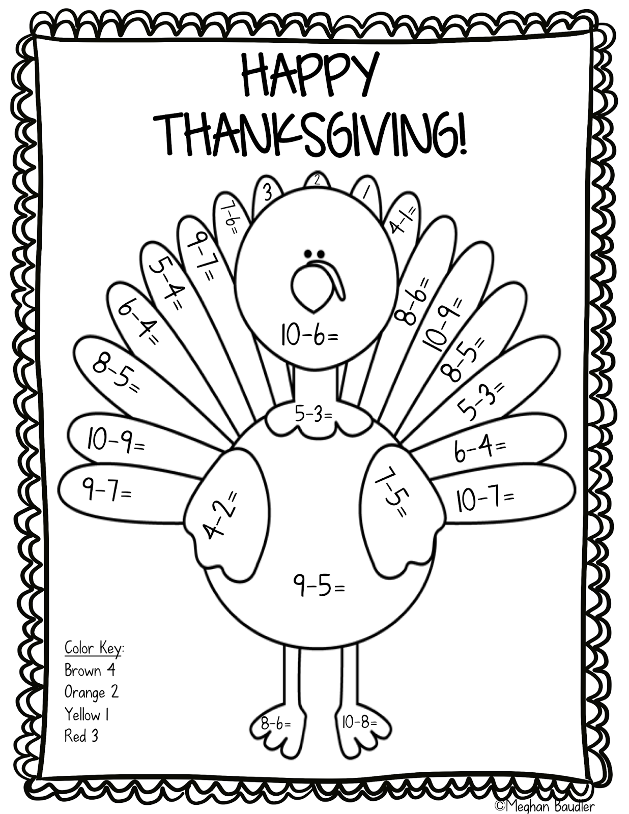 17 Printable Color by Number Turkey | Kitty Baby Love