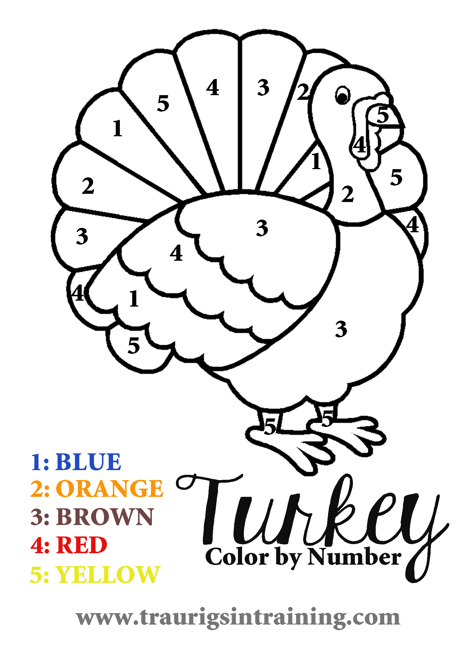 17 Printable Color by Number Turkey | KittyBabyLove.com