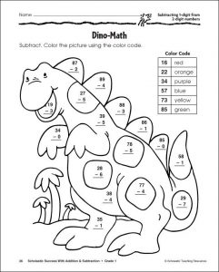 2 Digit Subtraction Color by Number