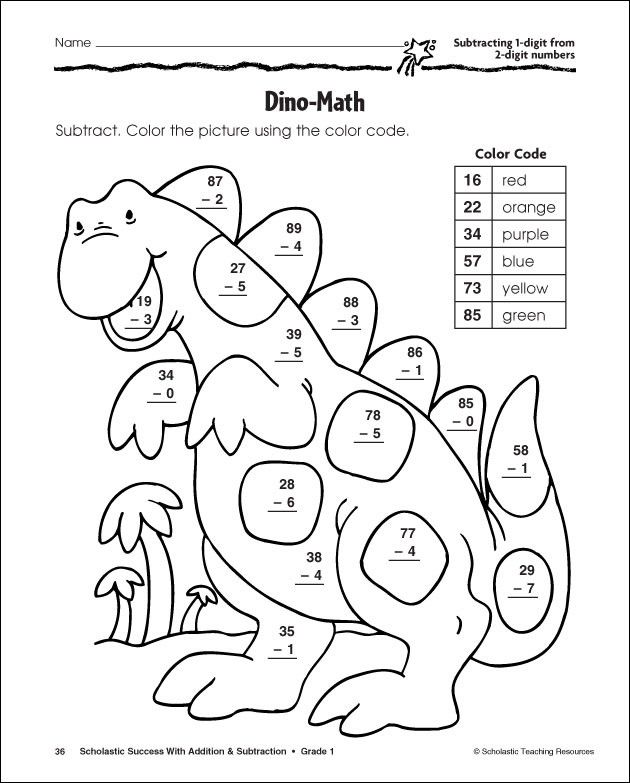 27 Helpful Subtraction Colors by Number | KittyBabyLove.com
