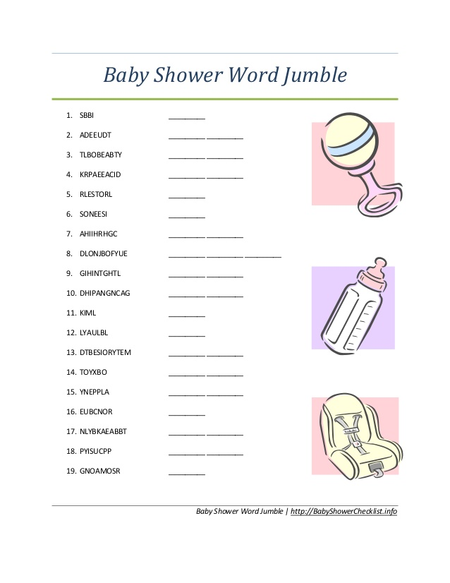 36 Adorable Baby Shower Word Scrambles | Kitty Baby Love
