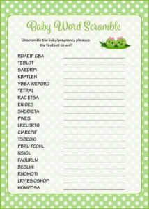 Baby Shower Word Scramble for Twins