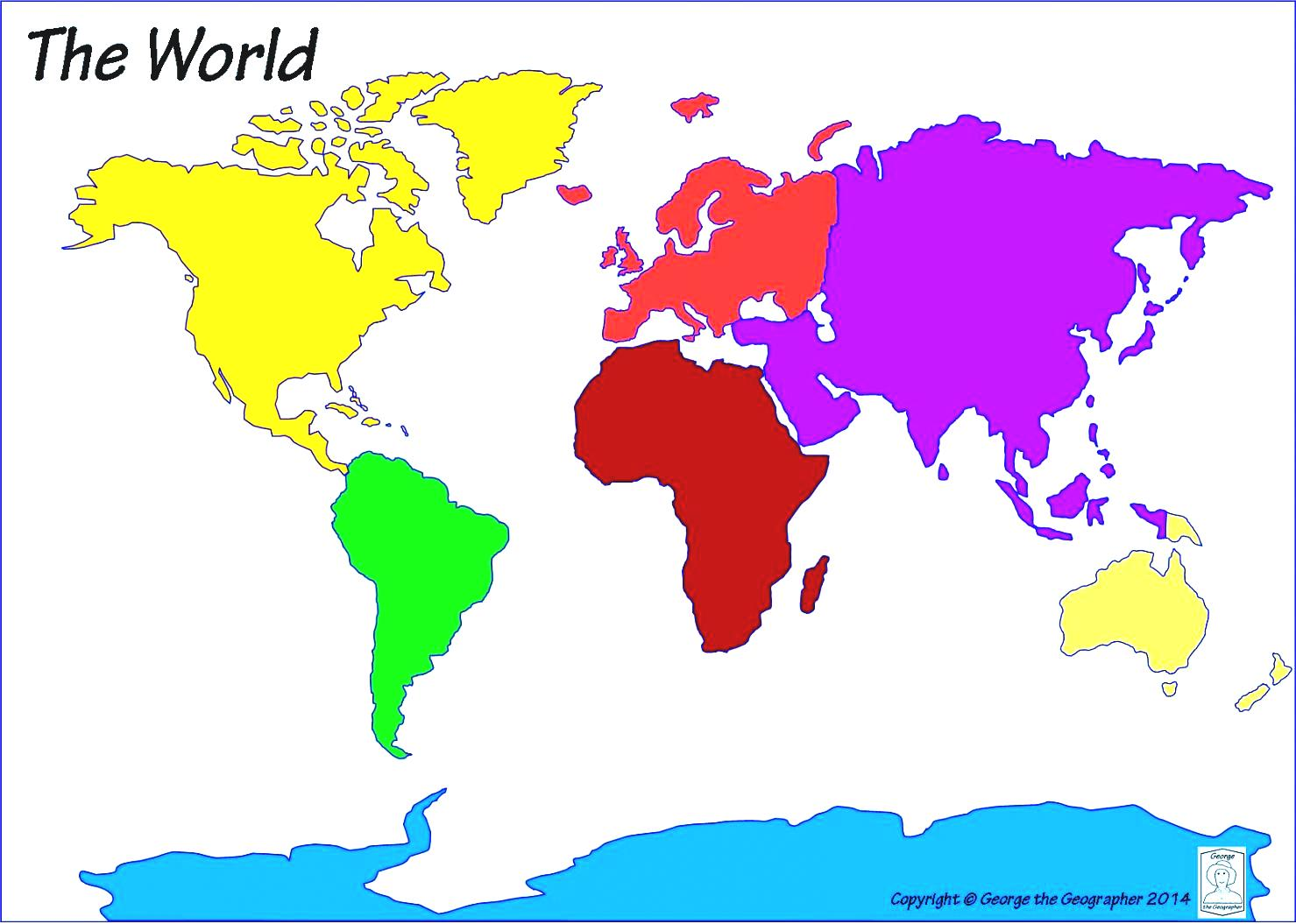 It is a picture of Clever Map of Continents and Oceans Printable