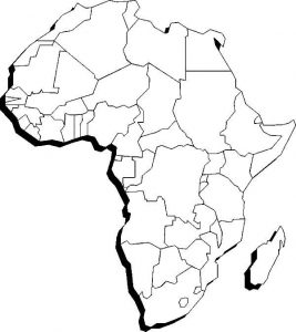 Blank Geography Continent Map of Africa