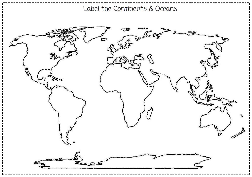 Amazing image within blank map of continents and oceans printable