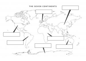 Blank World Continent Map to Label