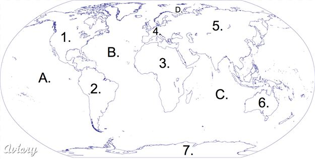 Blank World Map To Label Continents And Oceans