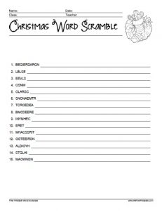 Christmas Word Scramble Puzzles Printable