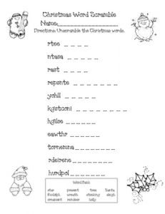 Christmas Word Scramble for First Grade