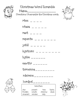 26 Christmas Word Scrambles For You Kittybabylove Com