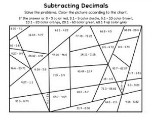 Color by Number Subtraction Decimals