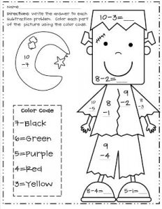 Color by Number Subtraction Halloween