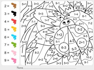 Color by Number Subtraction Printables