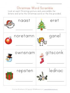 Easy Christmas Word Scramble Printable