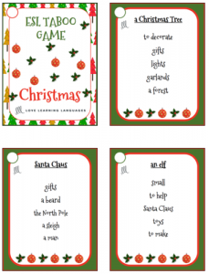 Printable Christmas Taboo Game Cards