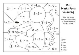 Subtraction Color by Number 3rd Grade