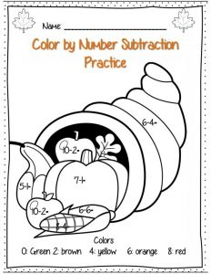 Subtraction Color by Number First Grade