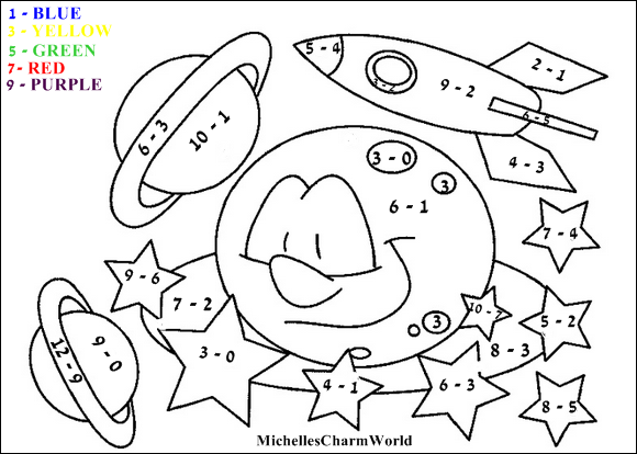 basic addition coloring pages | 27 Helpful Subtraction Colors by Number | KittyBabyLove.com