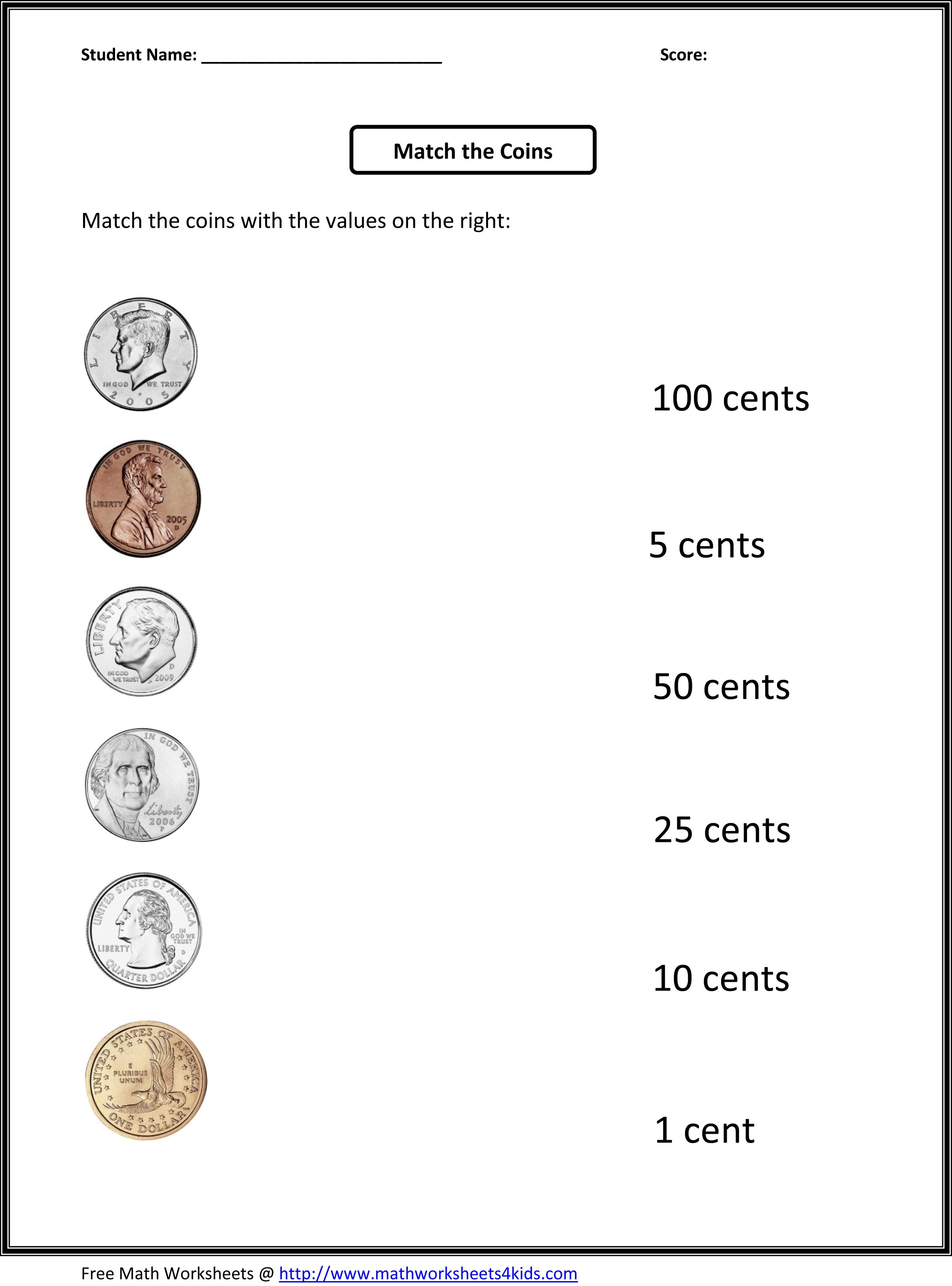30 Identifying Coins and Coin Values Worksheets ...
