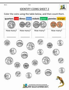 Color the Coins Worksheet