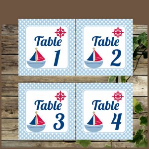 Free Printable Nautical Table Numbers for Baby Shower