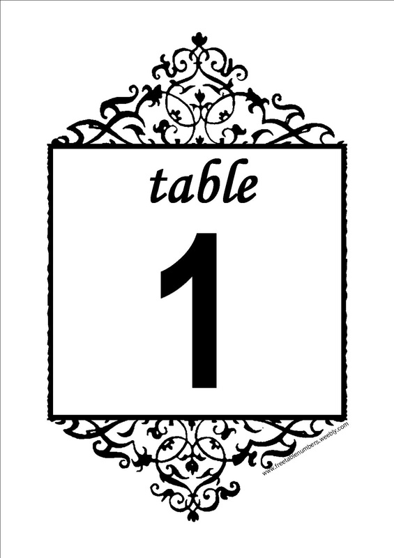 Gorgeous image in free printable wedding table numbers