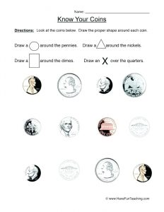 Identify Coins Worksheets