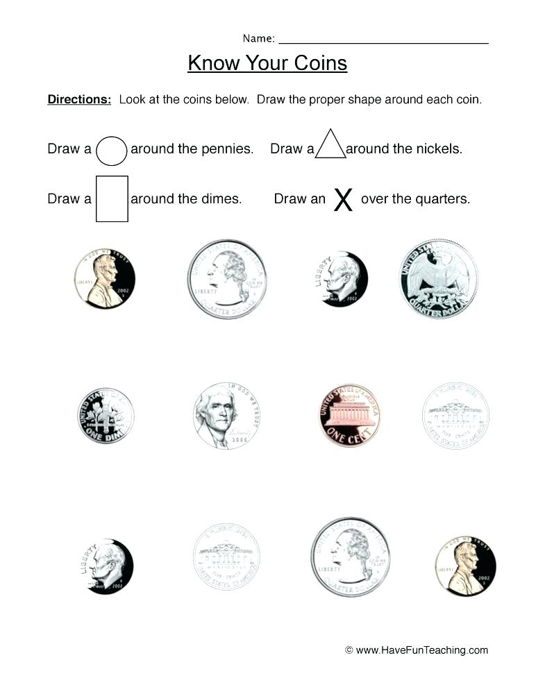 30 Identifying Coins And Coin Values Worksheets