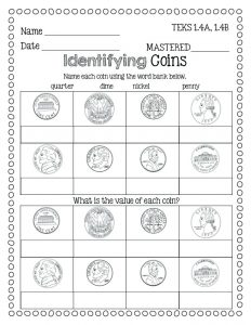 Identifying Coins and Values Worksheets