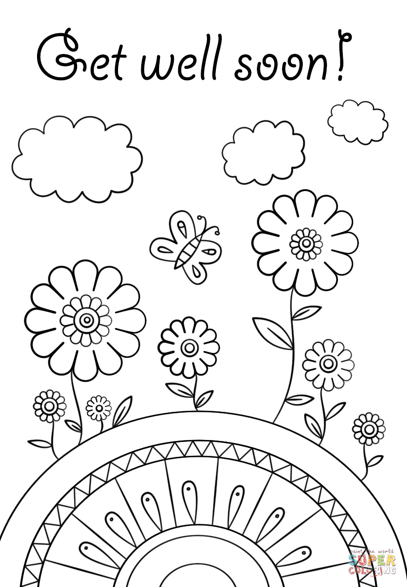 This is a graphic of Lucrative Free Printable Get Well Cards to Color