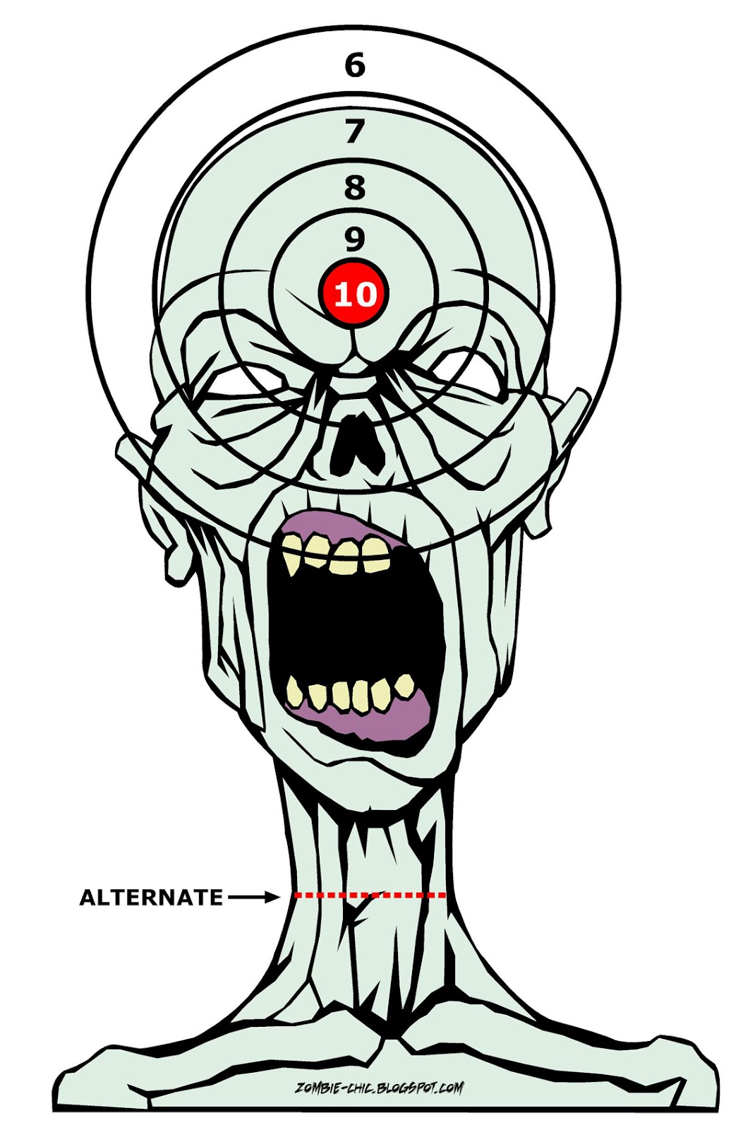 This is an image of Slobbery Zombie Target Printable